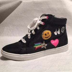 STEVIE'S Black Hi Top with Patches Sneakers